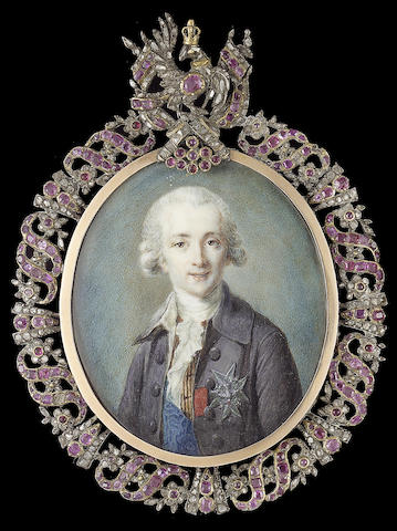 French School, Joseph-Hyacinthe-François de Paule de Rigaud, Comte de Rigaud, Comte de Vaudreuil (1740-1817), wearing pale mauve coat, yellow checked waistcoat, frilled white cravat, blue moiré sash of the French Order of St. Esprit, breast star of the same and red ribbon of the Military Order of St. Louis