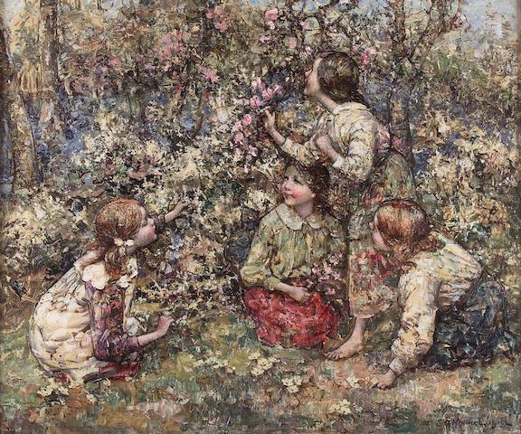 Edward Atkinson Hornel (1864-1933) Picking Blossom 64x77cm