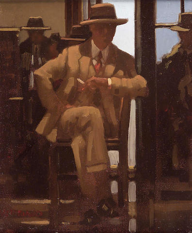 "Jack Vettriano OBE (b1954) ""And Waiting Still"" 29x24cm"