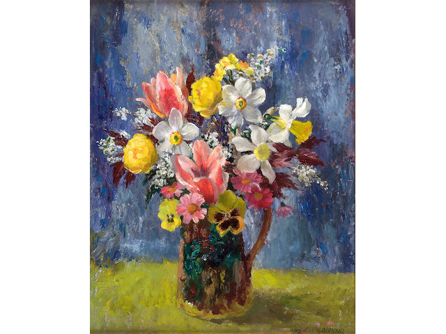 "Mary Armour RSA RSW (1902-1999) ""Flowers with Tulips"" 50x40cm"