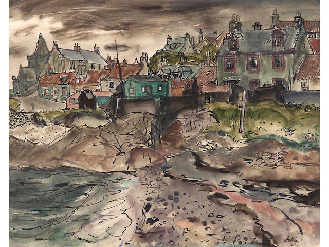 Sir William Gillies CBE LLD RSA PPRSW RA (1898-1973) St Monans 24.5x31cm