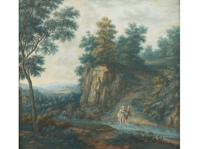Attributed to Christoph-Ludwig Agricola (Regensburg 1667-1719) River landscapes with figures varying sizes from 14.6 x 19 cm. (5¾ x 7½ in.) to 18 x 23.4 cm. (7 1/8 x 9¼ in.) (8)
