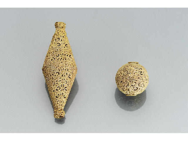 Two Fatimid filigree gold Fittings
