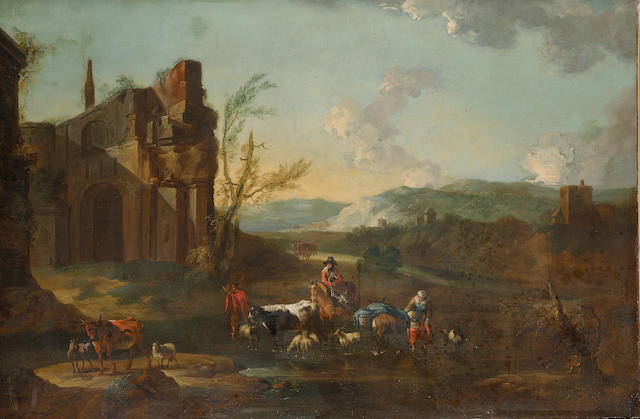 Circle of Abraham Jansz. Begeyn (Leiden circa 1637-1697 Berlin) Drovers with cattle and sheep fording a stream with ruins beyond 88.5 x 130.3 cm. (34 7/8 x 51¼ in.)