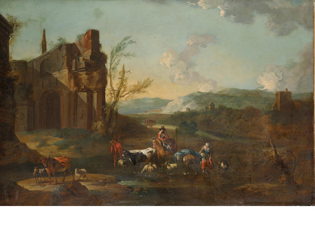 Circle of Abraham Jansz. Begeyn (Leiden circa 1637-1697 Berlin) Drovers with cattle and sheep fordin