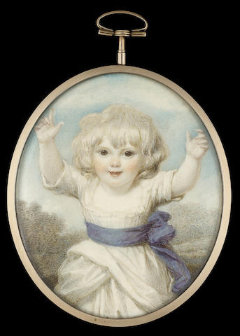 "Richard Cosway R.A., ""Infancy"" Lady Caroline Lamb (née Ponsonby) (1785-1828), as a two year old child, three-quarter length, advancing with arms outstretched, wearing low-cut white dress with blue sash tied to one side, landscape background"