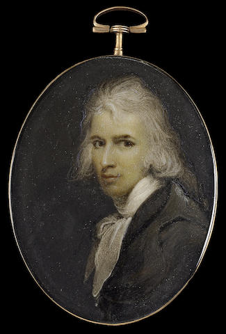 François Ferrière, A Gentleman, wearing dark grey coat and loosely tied white cravat, his long hair powdered and worn en queue