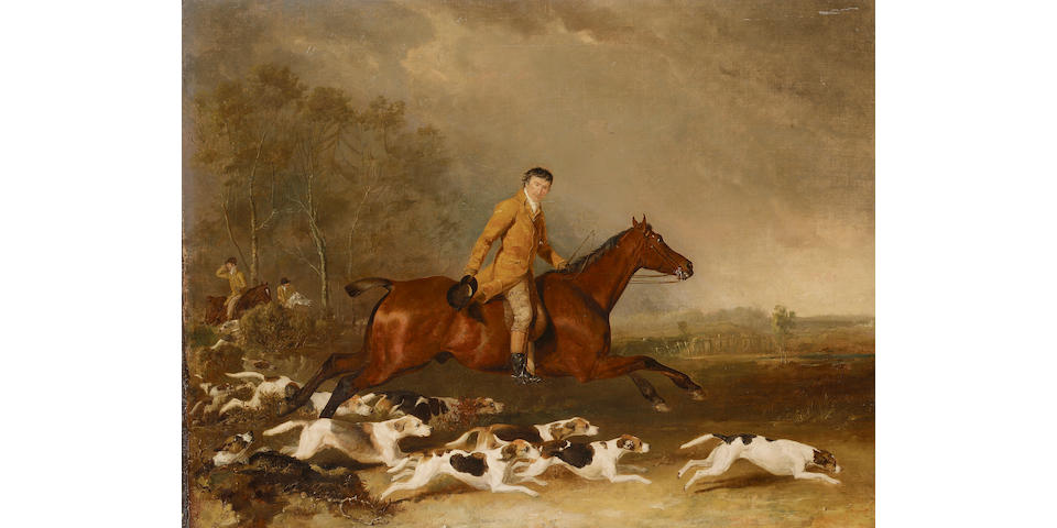Abraham Cooper (London 1787-1868 Greenwich) Portrait of Thomas Oldachre on a chestnut hunter with ho