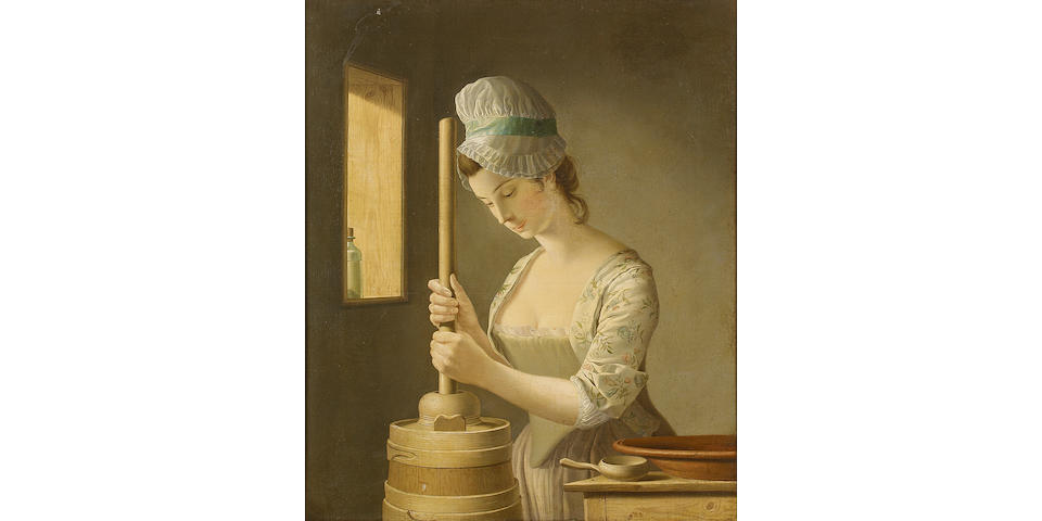 Henry Robert Morland (London circa 1719-1797) The Butter Churner 74 x 61 cm. (29 1/8 x 24 in.)