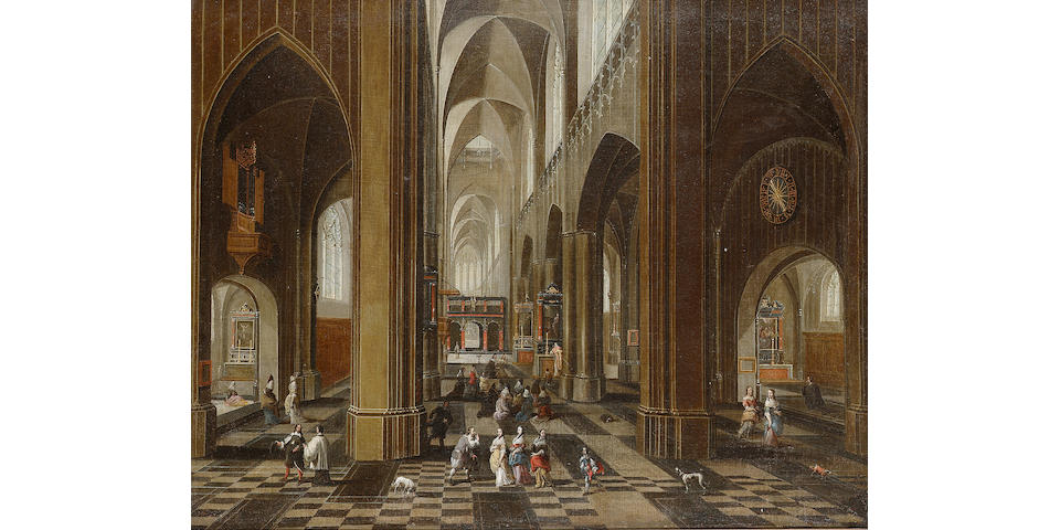 Circle of Pieter Neeffs the Elder  Church interior with figures and dogs 54.4 x 68.8 cm. (21 3/8 x 2