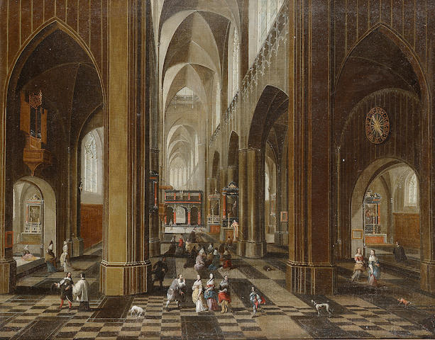 Pieter Neeffs the Elder (Antwerp circa 1578-circa 1659) A church interior 54.4 x 68.8 cm. (21 3/8 x 27 1/8 in.)