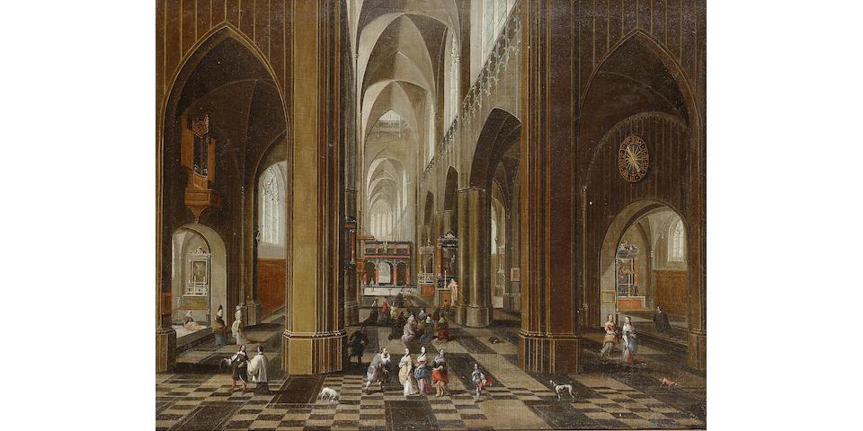 Pieter Neeffs the Elder (Antwerp circa 1578-circa 1659) A church interior 54.4 x 68.8 cm. (21 3/8 x 27 1/8 in.)