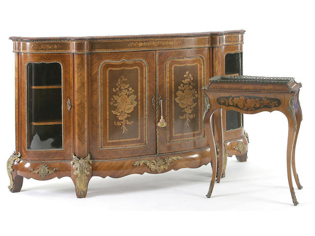 A good late 19th Century kingwood marquetry gilt metal mounted credenza,