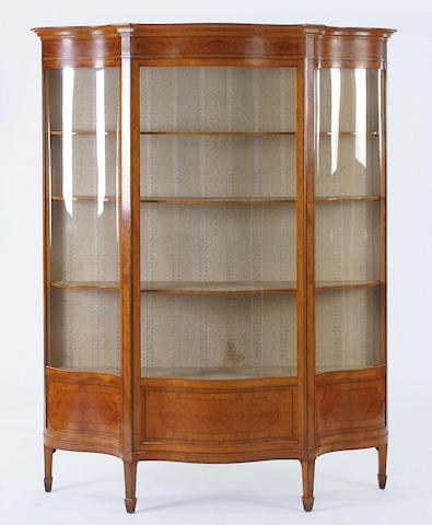An early 20th Century satinwood display cabinet,