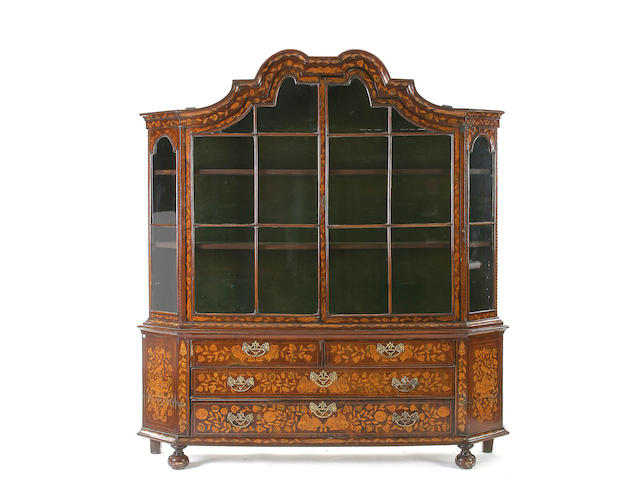 A 19th Century Anglo-Dutch mahogany and marquetry display cabinet,