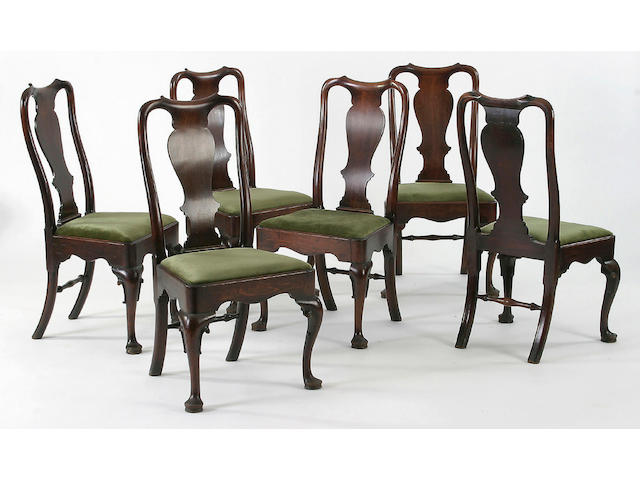 A set of six George I mahogany dining chairs,