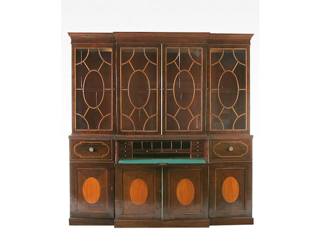 A 19th Century mahogany line inlaid secetaire breakfront bookcase,
