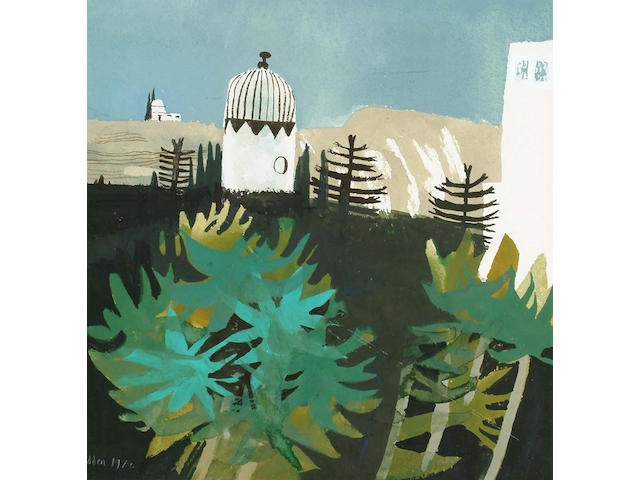 Mary Fedden R.A. (British, b.1915) Green Palms 25.5 x 24.5 cm.