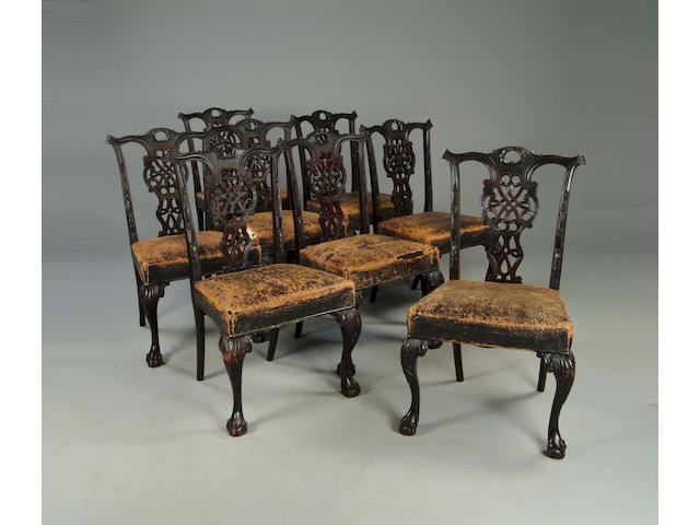 A set of eight Chippendale style mahogany dining chairsin the manner of Butler of Dublin