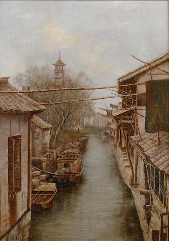 Circle of Chu Asai (Japanese, 1856-1907) A Japanese canal 43.2 x 31.7 cm. (17 x 12 1/2 in.)