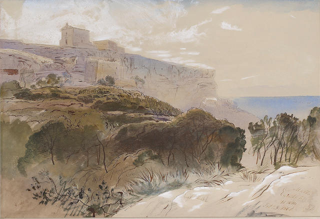 Edward Lear (British, 1812-1888) Mtahleb, Malta 36.2 53.3 cm. (14 1/4 x 21 in.)