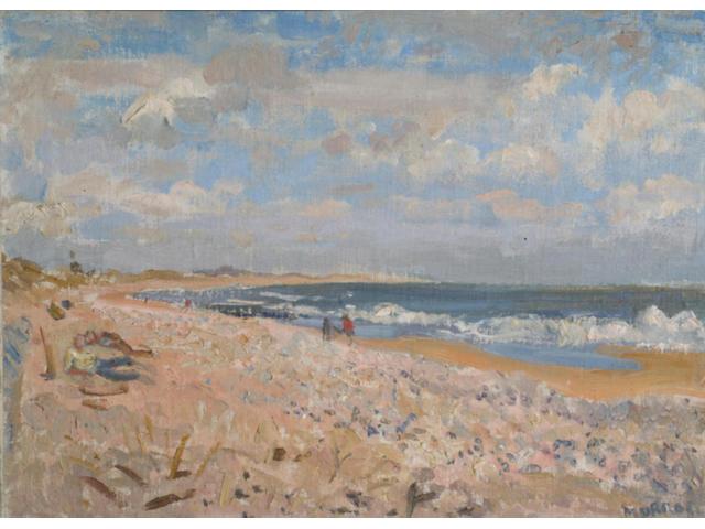 """Alberto Morrocco RSA RSW RP RGI LLD DUniv (1917-1998) """"The Beach, Aberdeen"""" 40x55cm"""