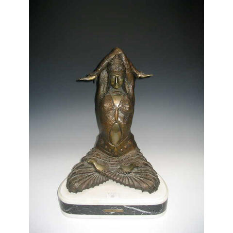 After Chiparus, A bronze figure of a middle eastern female dancer,