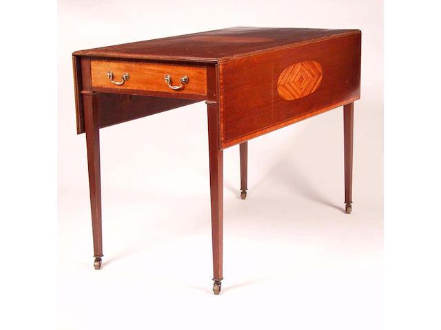 A George III mahogany and satinwood inlaid Pembroke table