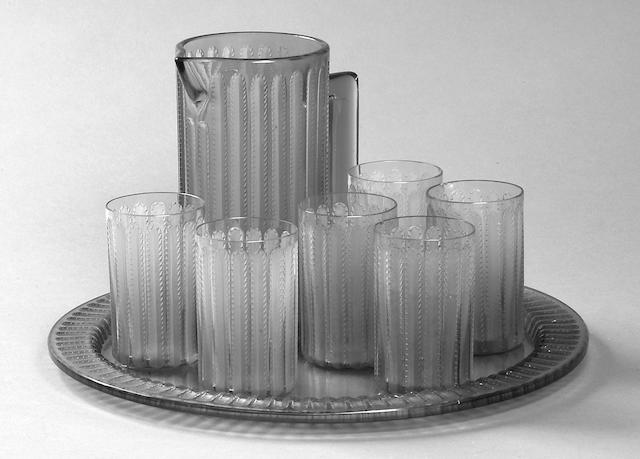 'Jaffa' - A Lalique amber glass lemonade set,