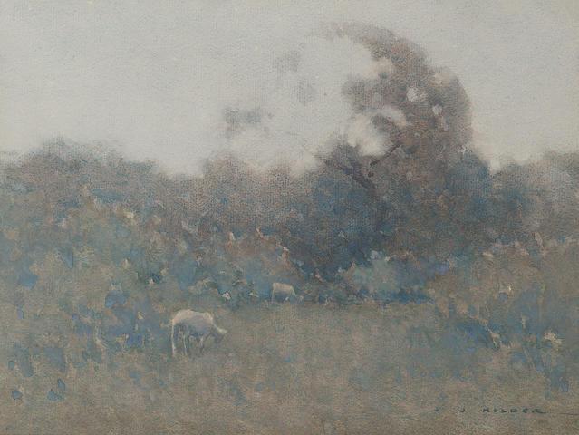 Jesse Jewhurst Hilder (Australian, 1881-1916) Sheep grazing in bushland 22.8 x 30.5 cm. (9 x 12 in.)