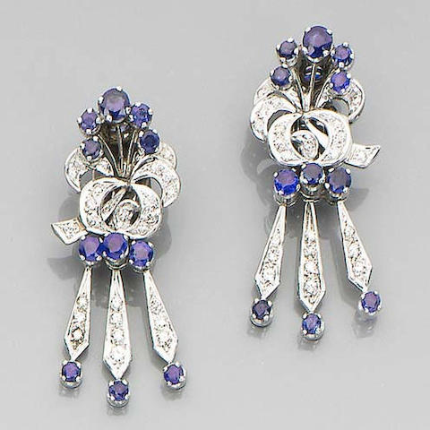 A pair of sapphire and diamond earclips