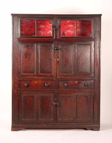 A 19th Century oak and elm country house keepers  cabinet,