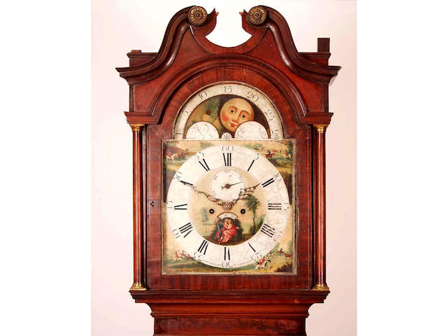 A mahogany cased eight day longcase clock with moonphase, Edward Shepley, Manchester,