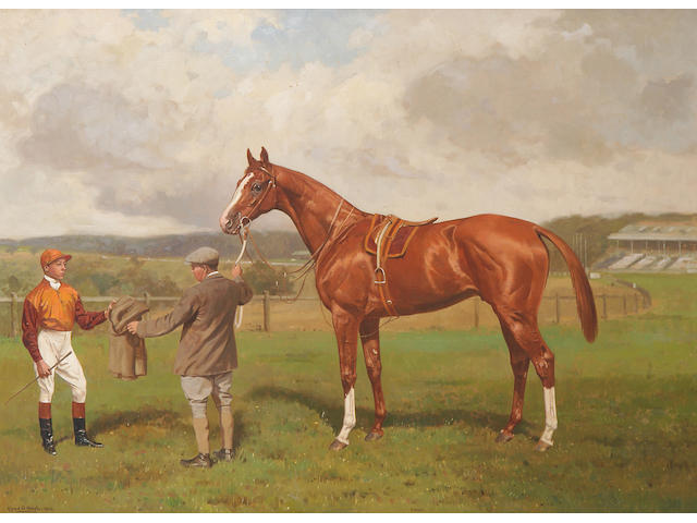 Alfred G. Haigh (exh.1890-1928) 'Magic' a chestnut racehorse with groom and jockey 61 x 82.5cm (24 x 32½in).