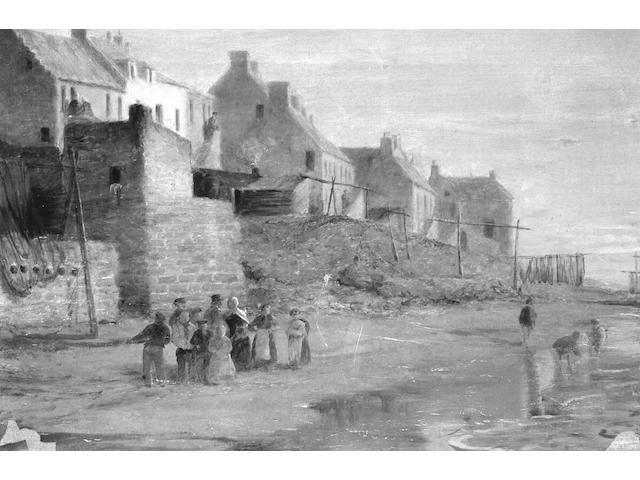 Follower of Robert Gemmell Hutchinson, R.B.A., R.O.I., R.S.A., R.S.W. (1860-1936) Figures on the beach 31 x 46cm (12 x 18in).