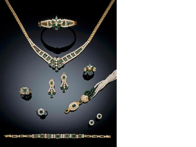 A suite of emerald and diamond jewellery,