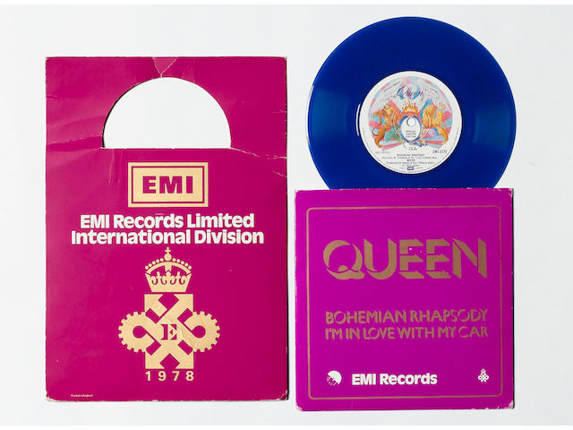 A blue vinyl pressing of Queen's 'Bohemian Rhapsody'/'I'm In Love With My Car',
