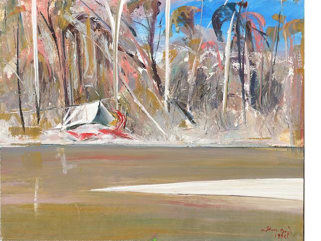 Arthur Merric Bloomfield Boyd (Australian, 1920-1999) A riverside encampment 30.5 x 38.1 cm. (12 x 1