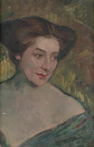 Eugen Spiro (German, 1874-1972) Portrait of a lady 20 x 13 1/2 in. (51 x 34 cm.)