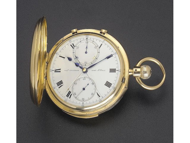 A fine and rare ealy 20th century 18ct gold minute repeating split second chronograph  Charles Frods