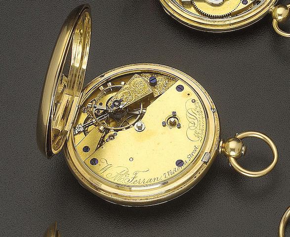 A good mid 19th century 18ct. gold pocket chronometer W. McFerran, 7 Victoria Street, Manchester