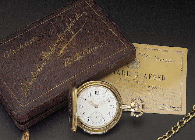 A fine late 19th century German 18ct gold hunter cased keyless lever watch in original presentation box, with papers, spare mainspring and two spare crystals Richard Glaeser, Glashutte b/Dresden movement numbered 8598, case numbered 8597