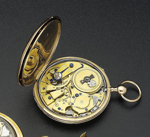 A first half of the 19th century 18ct gold quarter repeating cylinder watch