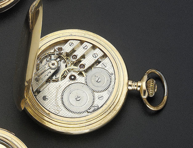A late 19th century large 18ct gold hunter cased pocket chronometer The case numbered 69185
