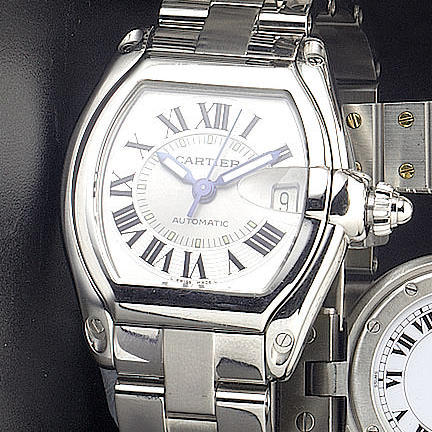 Cartier. A stainless steel automatic calendar wristwatch 'Roadster' recent
