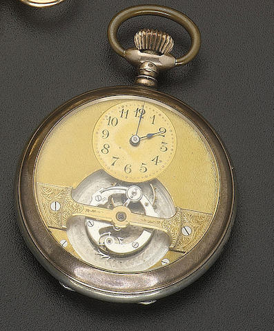 An early 20th century Swiss gold mounted silver 'Hebdomas' watch with one minute tourbillon Attributed to Paul Loichot, marked 'Brevet S.G.D.G. 30754' and numbered 103024