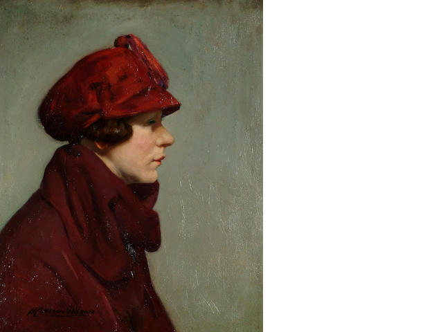 Hugh Cameron Wilson (British, 1885-?) Portrait of a lady in profile wearing a red hat 54 x 44cm.