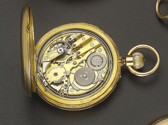 A late 19th century 18ct gold quarter repeating hunter cased keyless lever watch Le Roy & Fils, No 55665, Hgers de la Marine Palais Royal 13 & 15 Gal.ie Montpensier, Paris, 57 New Bond Street, London
