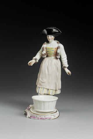 A Frankenthal figural sweetmeat circa 1760