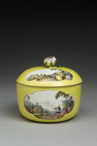A Meissen yellow-ground sucrier and cover circa 1750